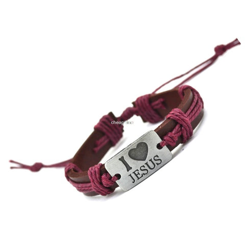 I Love Jesus Genuine Leather Charm Bracelet