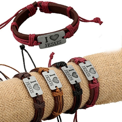 "Unisex ""I LOVE JESUS"" Faux Leather Bangle Hemp Rope Bracelet"