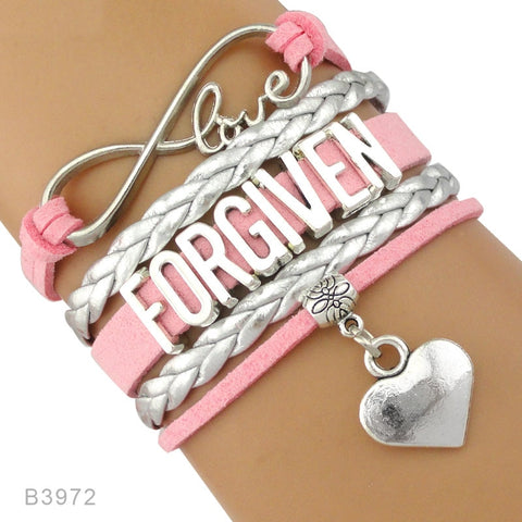 Infinity Love Silver Faith Believe Fearless Courage Jesus Loves Me Forgiven Sideways Cross Christian Leather Bracelets for Women
