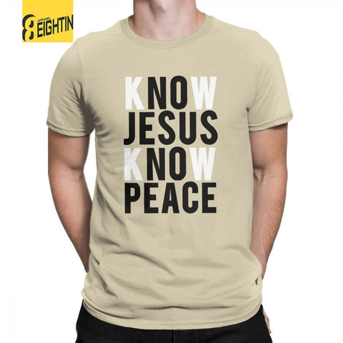 Know Jesus Know Peace Christian T-Shirts Men's Soft Crewneck Tee Shirt 100% Cotton Brand T Shirt Short-Sleeved Plus Size Special