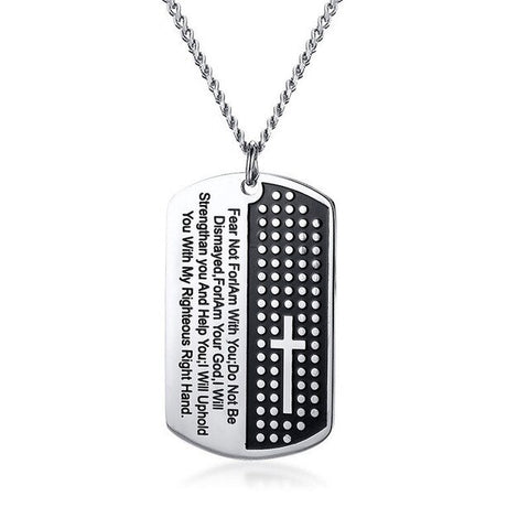 ZORCVENS Bible Verse Pendant Necklace for Men Stainless Steel Cross Necklace Male Christian Prayer Jewelry
