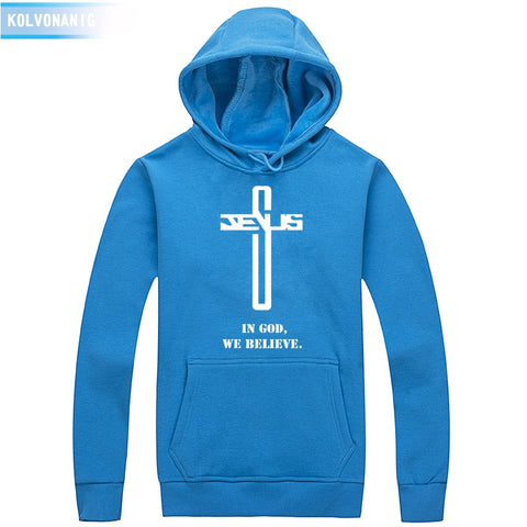 In God We Believe Sweatshirt Men Savior God Jesus Religion Prayer Faith Christian Printed Hoodies Men Clothes Tops Casual Hoody