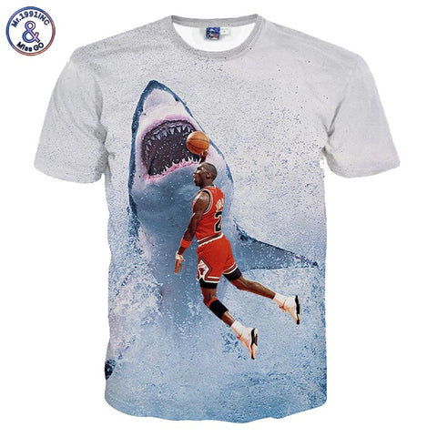 Funny Michael Jordan Dunking On A Shark T-shirt - sharks jewels