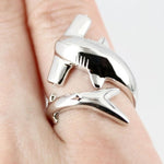 Silver Hammerhead Shark Ring Cute  Wrap Rings Adjustable Size - sharks jewels