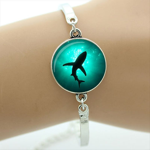 Shark Bracelet Blue Glass Art Picture Charm - sharks jewels