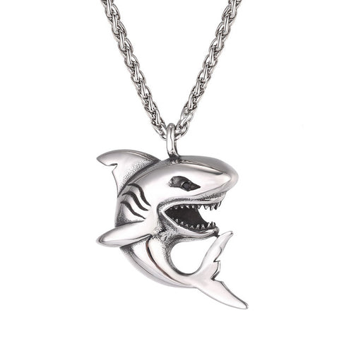 Stainless Steel Shark Necklace - FREE shipping - sharks jewels