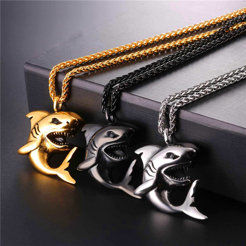 Stainless Steel Shark Necklace - FREE shipping
