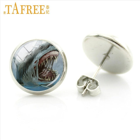 Deep Blue Ocean Great White Shark Glass Photo Stud Earrings - sharks jewels