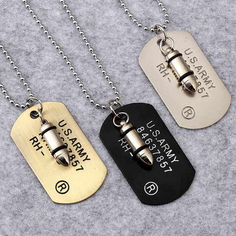 Army Bullet Dog-Tag Pendant - FREE Global Shipping - sharks jewels