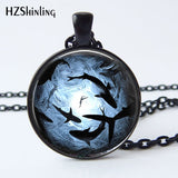 Glass Photo Circling Sharks Ocean Pendant - sharks jewels