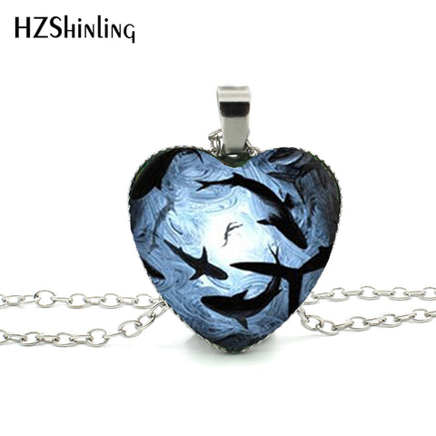 Circling Sharks Heart Necklace Blue and White Pendant - sharks jewels