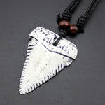 Great White Shark Tooth Pendants Rope Necklace - sharks jewels
