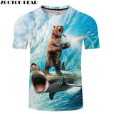 Funny  3D Bear Riding A Shark T-shirt - sharks jewels