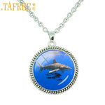 Deep Blue Ocean Great White Shark Photo Glass Pendant Necklace - sharks jewels