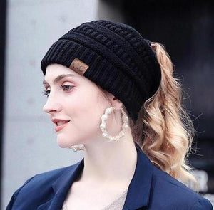 Plush Knitted Ponytail Beanie