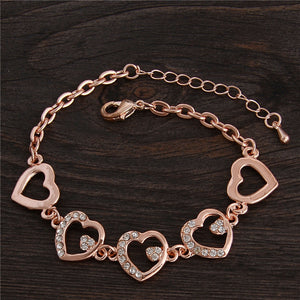 Rose Gold Heart Shaped Chain Bracelet