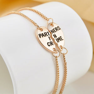 Partners in Crime Heart Charm Link Bracelets