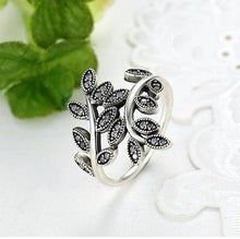Silver Plated Cubic Zirconia Leaf Ring