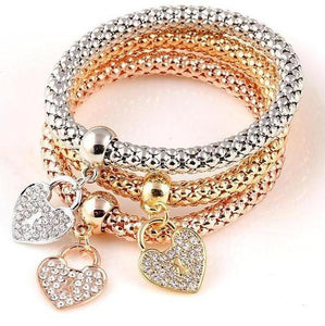 Crystal and Alloy Chain Bracelet (3 Pieces per Set)
