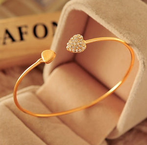 Crystal Double Heart Bow Cuff Bracelet