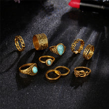 10 Piece Bohemian Blue Stone Knuckle Rings