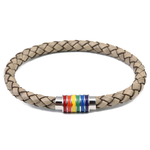Genuine Braided Leather Bracelet with Stainless Steel Rainbow