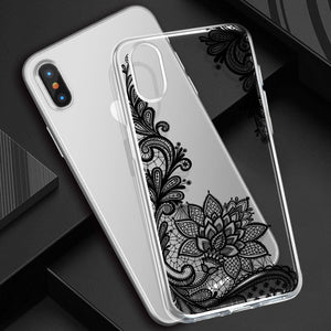 Henna Flower Lace Silicone iPhone Case