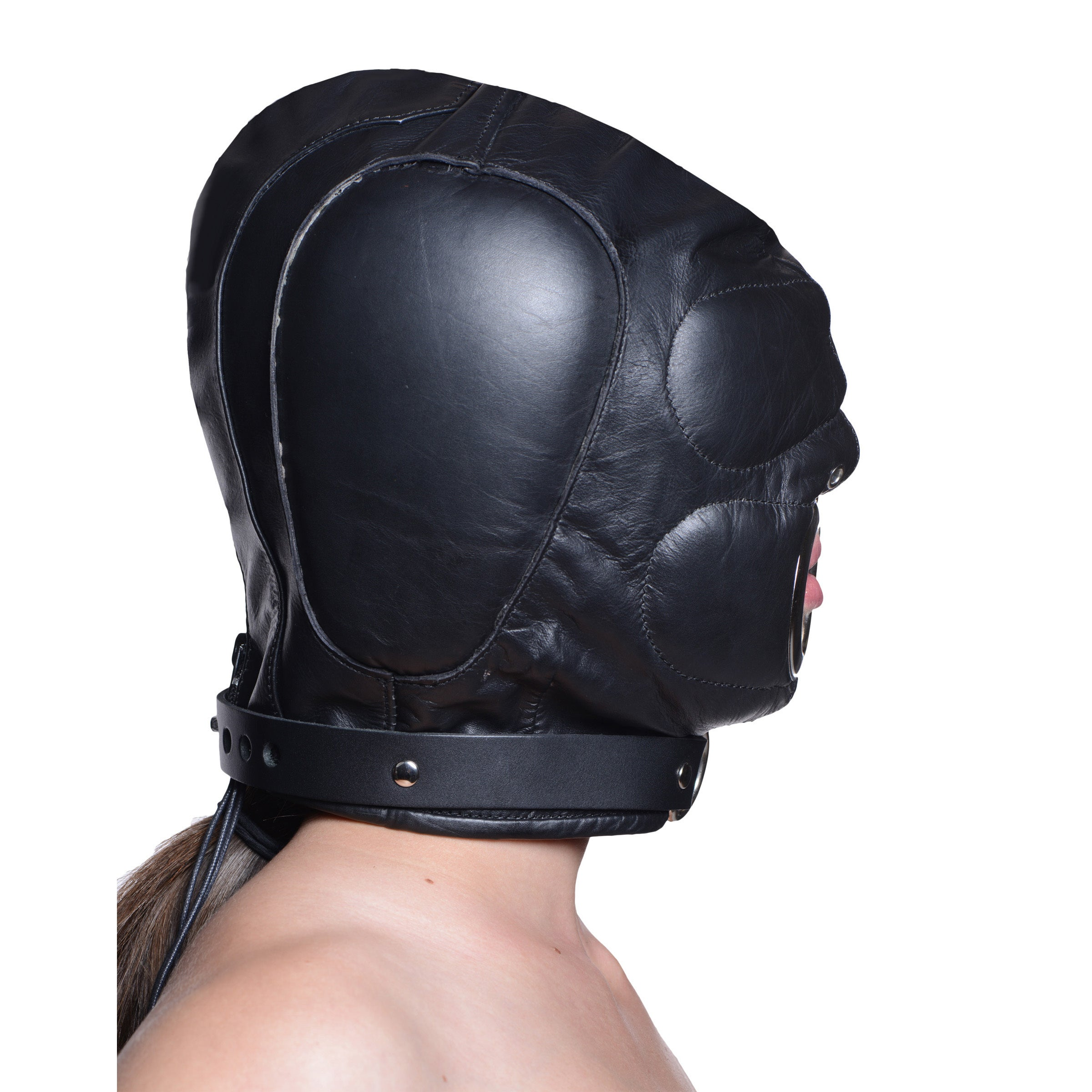 Leather Padded Hood With Mouth Hole - Mediumlarge