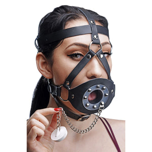 Plug Your Hole Open Mouth Leather Head Harness