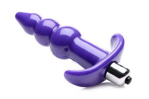 Ribbed Vibrating Butt Plug - Purple
