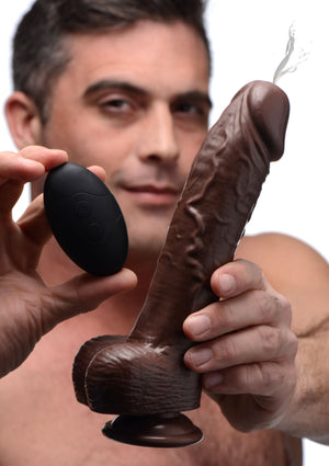8 Inch Vibrating Squirting Dildo With Remote Control - Dark