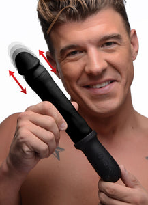 8x Auto Pounder Vibrating And Thrusting Dildo With Handle - Black