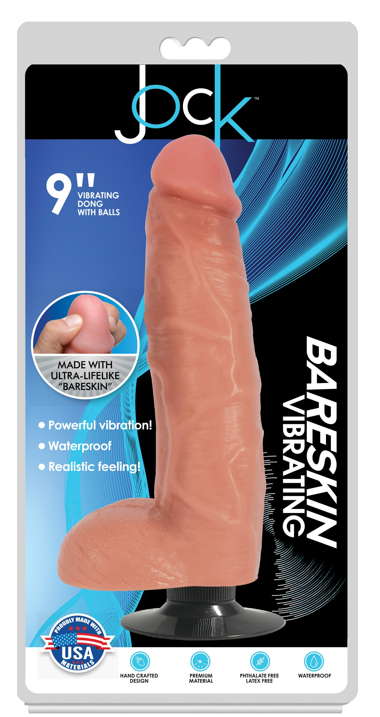 Jock Light Bareskin Vibrating Dildo With Balls - 9 Inch