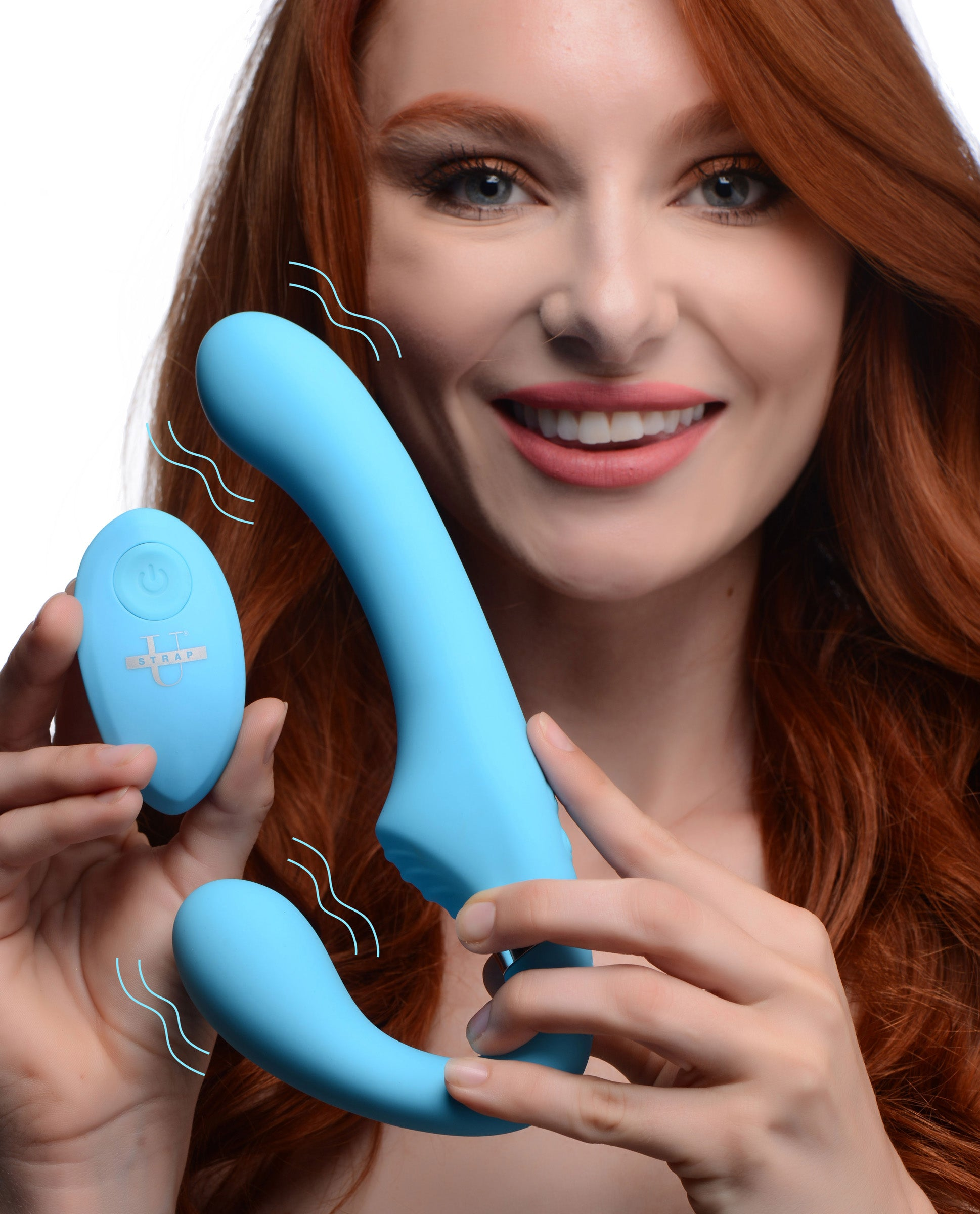 10x Vibrating Silicone Strapless Strap-on - Blue