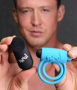 Remote Control 28x Vibrating Cock Ring And Bullet - Blue