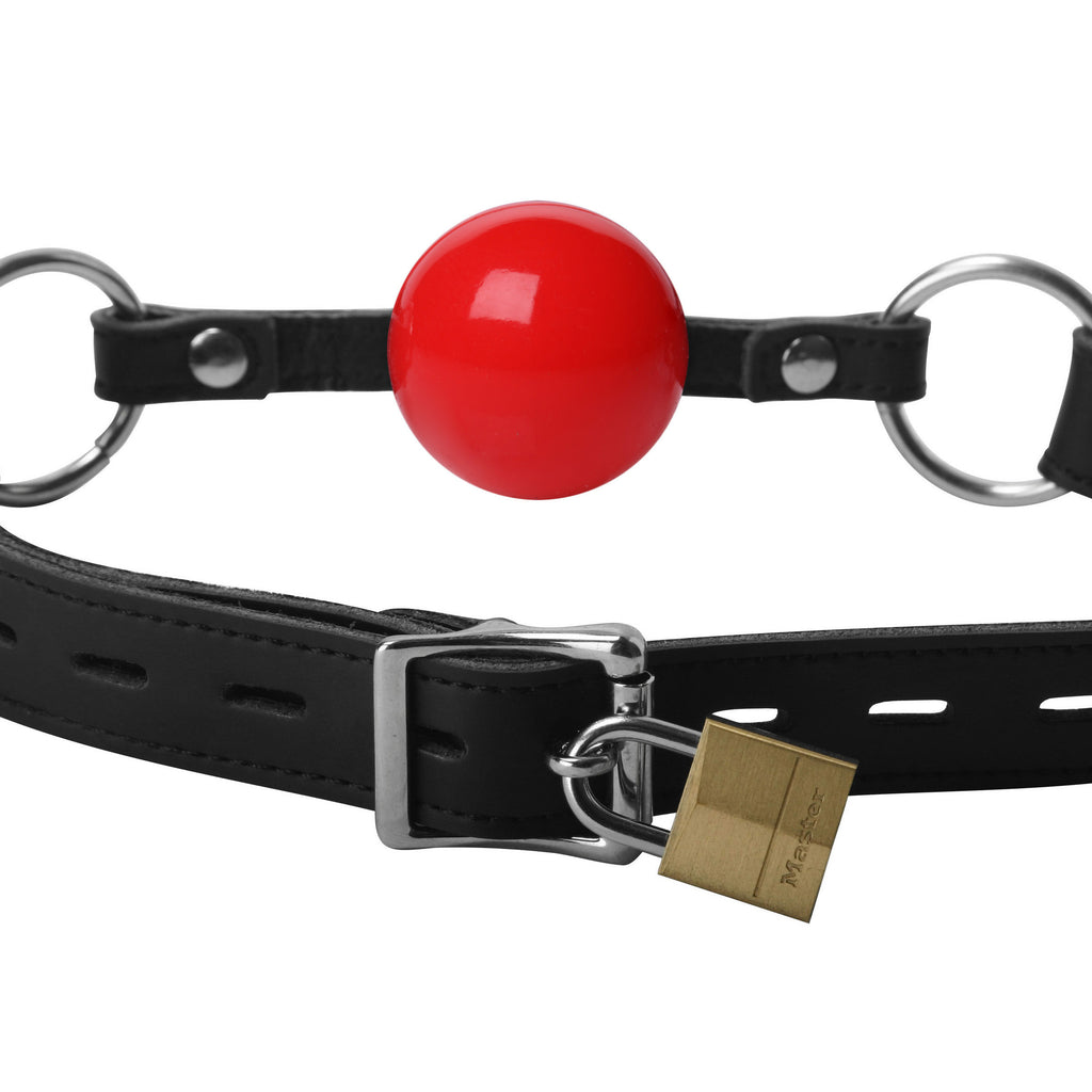 Classic Locking Silicone Ball Gag - Red