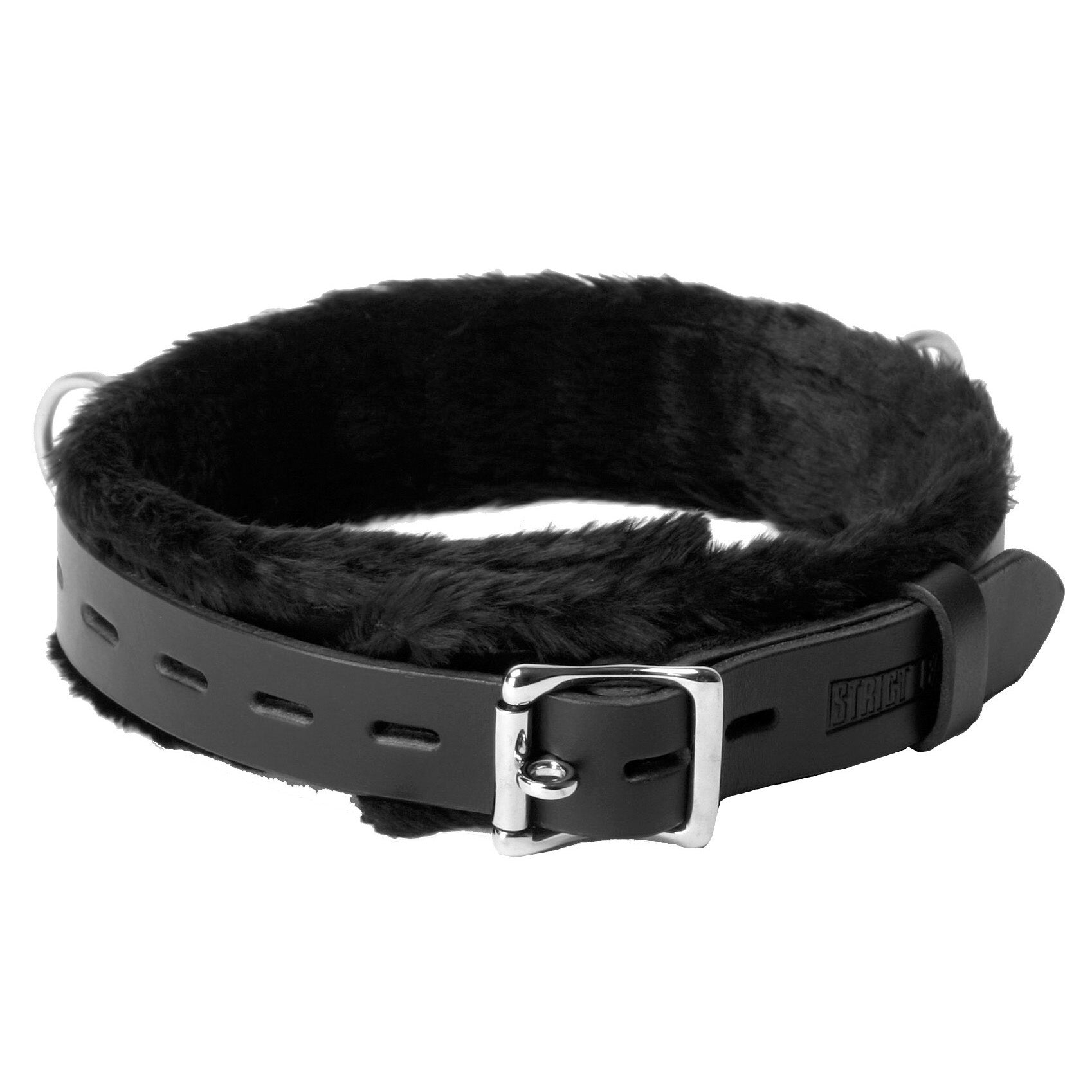 Strict Leather Narrow Fur Lined Locking Collar