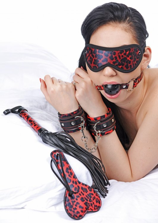 Red Leopard 6 Piece Bondage Set