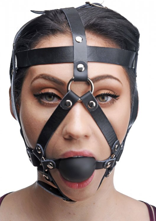 Leather Head Harness with Ball Gag