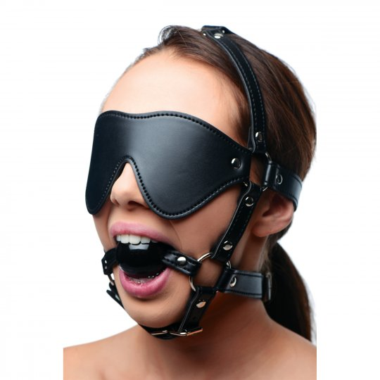 Strict Leather Premium Locking Arm Splints/Blindfold harness and ball gag