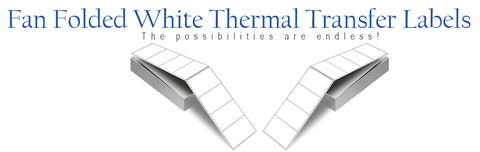 White Thermal Transfer Labels, Fan Folded
