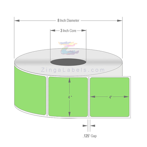 "4"" x 4"", Blank Florescent Green Thermal Transfer Labels"