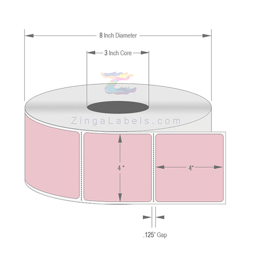 "4 x 4"", Blank Pink (PMS 196) Thermal Transfer Labels"