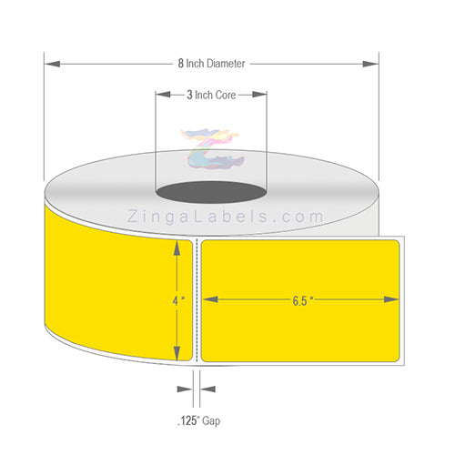 "4 x 6.5"", Blank Pantone Yellow Thermal Transfer Labels"