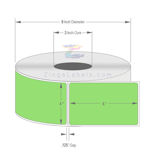 "4"" x 6"", Blank Florescent Green Thermal Transfer Labels"