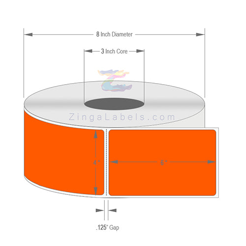 "4"" x 6"", Blank Florescent Orange Thermal Transfer Labels"