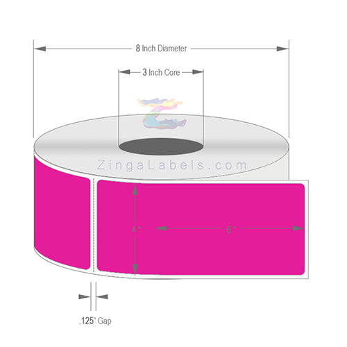 "4"" x 6"", Blank Florescent Pink Thermal Transfer Labels"