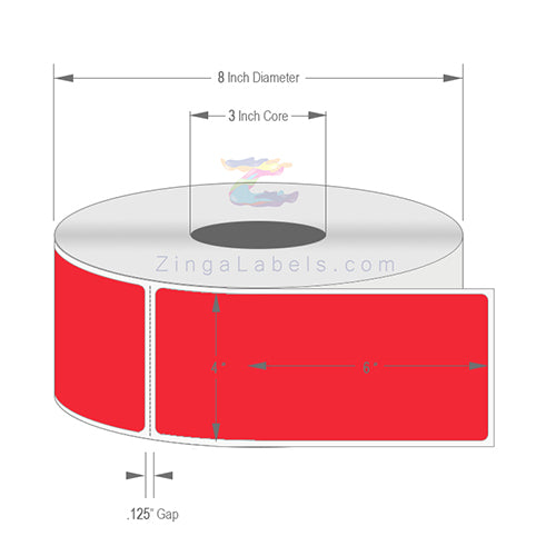 "4 x 6"", Blank Florescent Red Thermal Transfer Labels"
