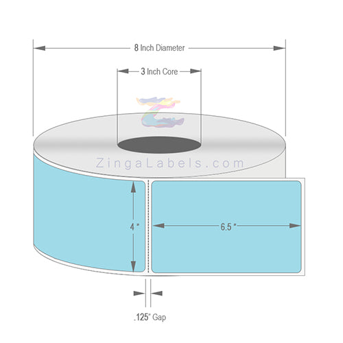 "4 x 6.5"", Blank Blue (PMS 2975) Thermal Transfer Labels"