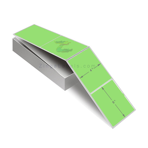 Florescent Green Thermal Transfer Labels, Fan Folded 4 x 6""